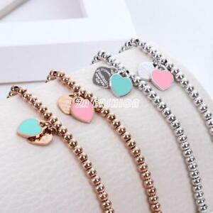 Lokaerlry Trendy Stainless Steel Love Heart CZ Crystal Charm Bracelets for Women Girls Bohemia Chain /& Link Bracelet Jewelry