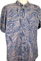 Retrofit Men's XXL, Hawaiian Shirt, Blue and Orange, Leafy Print