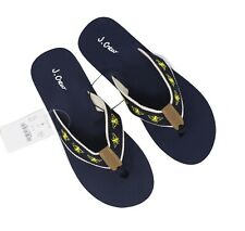 3680940bb650 J.Crew Factory Women s 8M - Navy Yellow Bee Embroidered Canvas Flip Flops