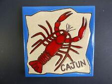 "Ceramic Art Tile 6""x6"" Cajun crawfish, crawdads, freshwater lobsters trivet H1"