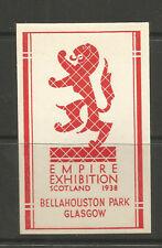 GB/UK Glasgow 1938 Empire Exhibition poster stamp/label