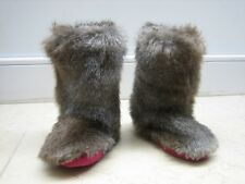 Joules brown grey furry slippers Size 1-3 L snow boot style with pink soles