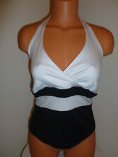 Fashion Bug NWT S small white black color block stretch halter shirt