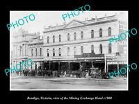 OLD LARGE HISTORIC PHOTO OF BENDIGO VICTORIA, THE MINING EXCHANGE HOTEL c1900
