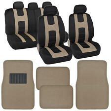 "Seat Cover for Car ""Rome Sport"" Racing Style Stripes Black/Beige w/ Carpet Mats"