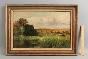 Antique JOHN WHIPPLE American Country Bucolic Cow Cattle Landscape Oil Painting