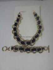 Banana Republic Double Link Navy Rope Toggle Necklace  Bracelet NWT $79.99 Set 2