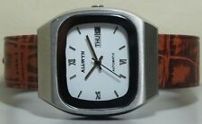 Vintage ALLWYN Automatic Day Date Mens Stainless Steel Wrist Watch Old Used R712