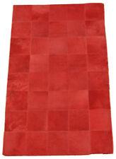Tapis en cuir de vache rouge Patchwork 100 x 160 cm Tapis peau de vache rouge