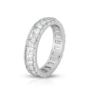 925 Sterling Silver Eternity Band Ring with Emerald Cut Cubic Zirconia Stones