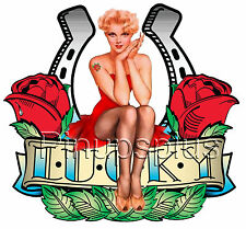 Lucky Vintage Style Pinup Girl Waterslide  Decal Guitar more S269 by pinupsplus