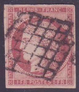 """FRANCE N° 6 """"1F CARMIN FONCE"""" OBLITERE TTB VALEUR:900€"""