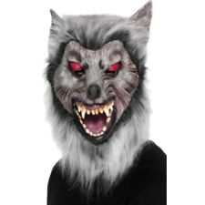 Werewolf Mask Mens Halloween Wolf Fancy Dress Face Mask Grey