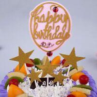7Pcs Rhinestones Balloon Star Cake Topper Kids Happy Birthday Party Decoration