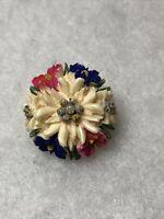 Edelweiss Brooch Celluloid Swiss Austrian 1950s Vintage Jewellery Jewelry Retro