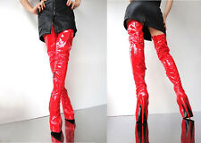 CQ COUTURE PLATFORM OVERKNEE STIEFEL BOOTS STIVALI STRETCH LEATHER RED ROSSO 37