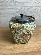 More details for midwinter burslem porcelain large jar with metal lid and handle orange flowers