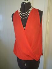 Temt Size 8 Bright Highlighter Orange Wrap Cross Over Summer Top 155