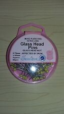 BNWT Hemline Heat Resistant Extra Long Glass Head Pins Approx 60 Pieces