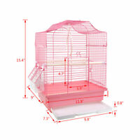 15.4''H Small Bird Cage Pink For Finch Cockatiel Lovebird Travel Cage with Tray