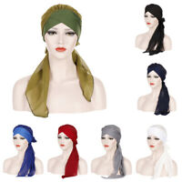 Women Chiffon Stretch Turban Scarf Hijab Muslim Long Tail Beanie Head Wrap Cap