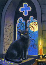 Black cat witch's window moon candle Halloween OE aceo print of painting art
