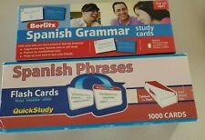 Spanish Grammar (1000) And Phrases (1000) Berlitz And Quick Study Cards