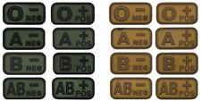 Blutgruppen Patch Gummi 3D Abzeichen Klett schwarz rot grau oliv khaki 5x2,5cm