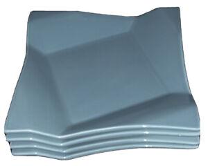 Pier 1 DIAMOND FOLD BLUE Square Salad Accent Dessert Plate 9x9 Set Of 4 New