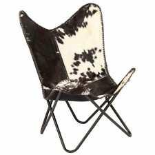 vidaXL Vlinderstoel Echt Geitenleer Zwart en Wit Vlinderstoel Stoel Zitstoel