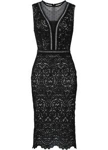 Damen Kleid 32 - 50 schwarz mit Spitze, elegant, festlich, Cocktailkleid 457