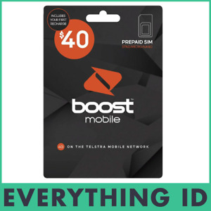 AUSTRALIAN BOOST $40 PREPAID MULTI FIT SIM CARD PACK 3G 4G LTE NORMAL NANO MICRO