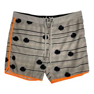 Hurley Phantom Tan/Orange Board Surf Shorts Swimming Trunks Mens Size 40 Striped