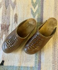 Vintage 1970s Olof Daughters Leather Wooden Heel Swedish Clogs Holje Size 6