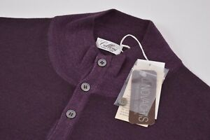 Cellini NWT 1/4 Button Sweater Made by Gran Sasso In Purple Size 48 US XXL