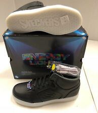 Boys Girls YOUTH Skechers Energy Lights Black Leather High Top Shoes Sneakers 5