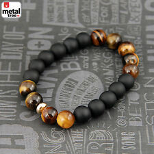 Men's Hip Hop Tiger's Eye Stone Gems Beads Elastic Stretch Wrist Bracelet KDB036