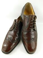 Bruno Magli Mens Italian Dress Shoes 8 M Brown Leather Wingtip