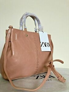 zara MIDI TOTE BAG WITH TOPSTITCHING PINK new with tags