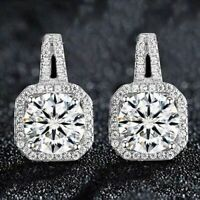3.50 Ct Round Cut Moissanite 14K White Gold Over Halo Stud Earrings