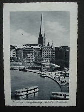Alte AK Postkarte 1938: Hamburg- Jungfernstieg Blick auf Petrikirche