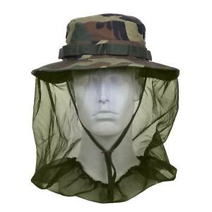 WOODLAND CAMOUFLAGE MILITARY STYLE BOONIE HAT WITH MOSQUITO INSECT NETTING