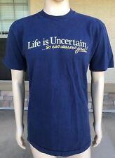 Vintage 80s Life Is Uncertain So Eat Dessert Single Stitch T Shirt FOTL USA XL