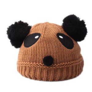 Winter Cute Panda Crochet Knitted Newborn Baby Hat Warm Pompom Kids Beanie Cap