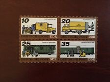 GERMANY EAST DDR MNH 1978 MAIL TRANSPORT TRUCK CAR RAILROAD BLOCK OF FOUR