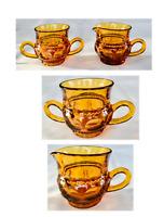 Vintage Indiana Glass KINGS CROWN Thumbprint Amber Sugar and Creamer Set