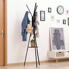 """71"""" Metal Coat Rack Hat Hanger Garment Holder 9 Hooks with Shelf Black"""