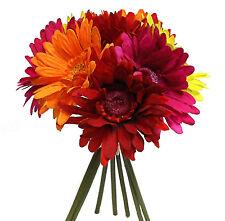 RED ORANGE PINK YELLOW ~ Gerbera Daisies Bridal Bouquet Silk Wedding Flowers NEW