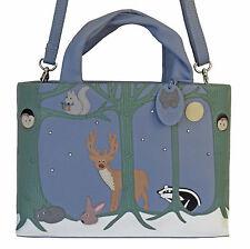 45% OFF CICCIA CAT FOREST FRIENDS BLUE LEATHER GRAB BAG SHOULDER BAG RRP £130