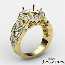 Round Semi Mount Diamond Engagement Ring Halo Pave Set 14k Yellow Gold 1.25Ct